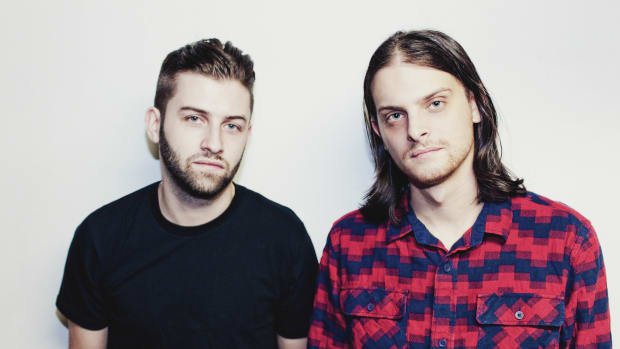 "A color photo of Canadian DJ/producer duo Zeds Dead (real names Dylan ""DC"" Mamid and Zachary ""Hooks"" Rapp-Rovan)."
