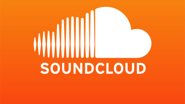 The SoundCloud logo in white over orange.
