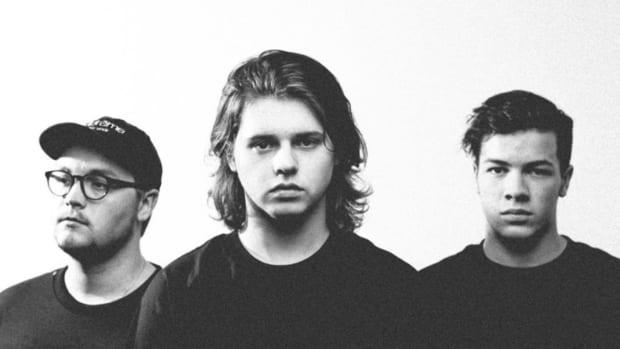 Black-and-white press photo of Austin DJ/producer trio WAVEDASH.