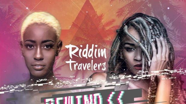 Riddim Travelers - Rewind featuring Dutchess & Cherae (Monom Records) [Album Artwork]