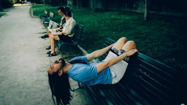 Drunk Steve Aoki on a Park Bench