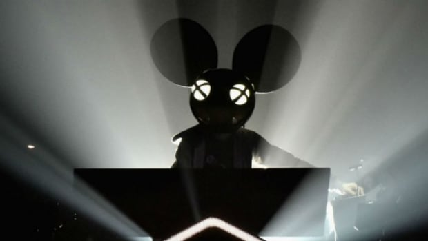 Deadmau5 wearing mau5head during DJ permormance.
