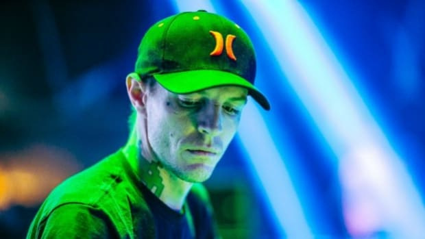 A photo of Joel Zimmerman A.K.A. deadmau5 during a DJ performance.