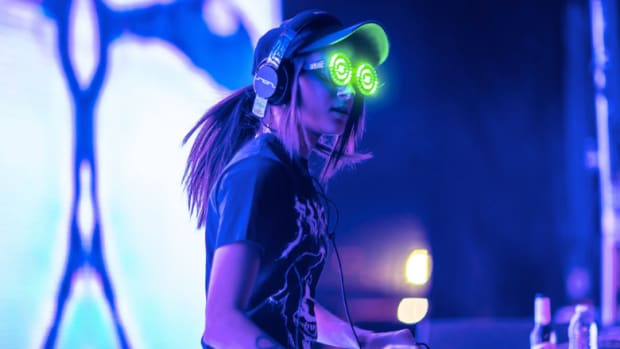 A photo of Canadian DJ/producer Rezz (real name Isabelle Rezazadeh) during a performance courtesy of Rukes.