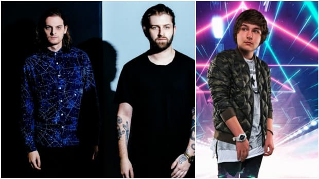 A side-by-side or split-screen image of DJ/producers Zeds Dead and Dion Timmer.