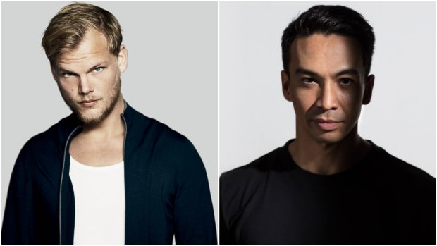 A side-by-side photo of Swedish DJ/producer Avicii and Dutch DJ/producer Laidback Luke.
