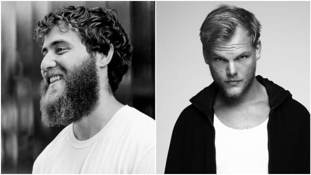A side-by-side or split-screen image of American singer/songwriter Mike Posner and Swedish DJ/producer Avicii (real name Tim Bergling) from left to right.