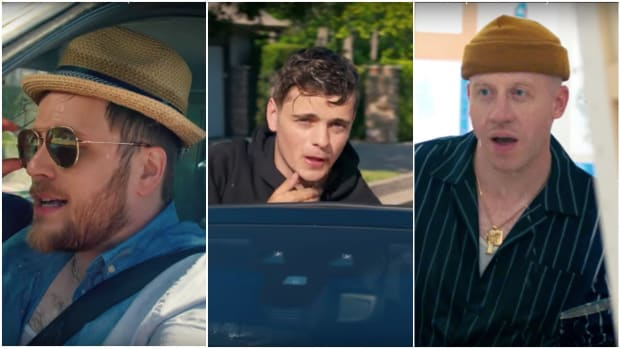 "Screen captures of Martin Garrix, Macklemore and Patrick Stump of Fall Out Boy from the music video for ""Summer Days."""