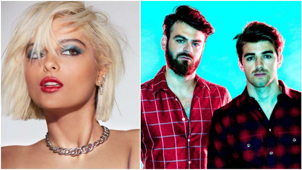 A split screen or side-by-side photo of The Chainsmokers (real names Alex Pall and Drew Taggart) and Bebe Rexha.