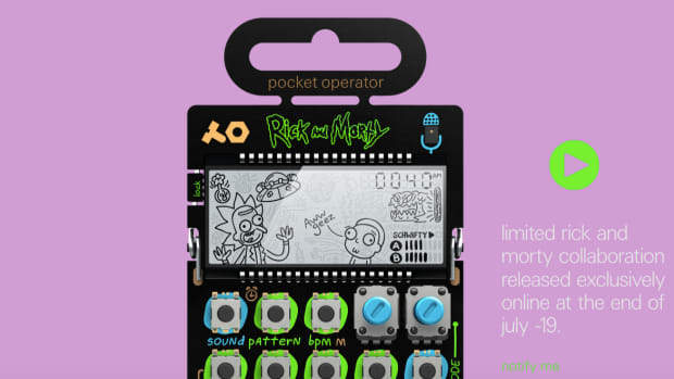 An image of Teenage Engineering's PO-137 mini synthesizer with the characters from Rick and Morty on the screen.
