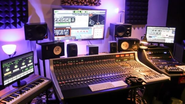 Stock Photo of a Music Studio with Purple Backlight