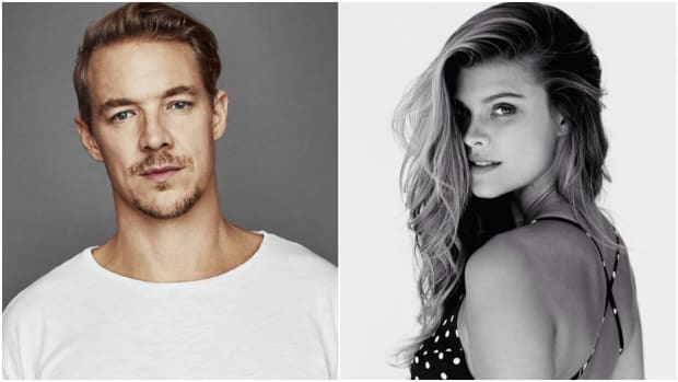 A split-screen image of Diplo and Nina Agdal.
