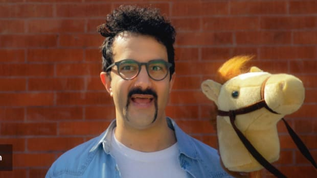 "Valentino Khan during his cameo in the YouTube spoof video ""PONY: How it works."""