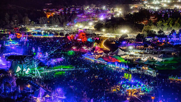 An overhead shot of Insomniac's SoCal electronic music festival Nocturnal Wonderland.