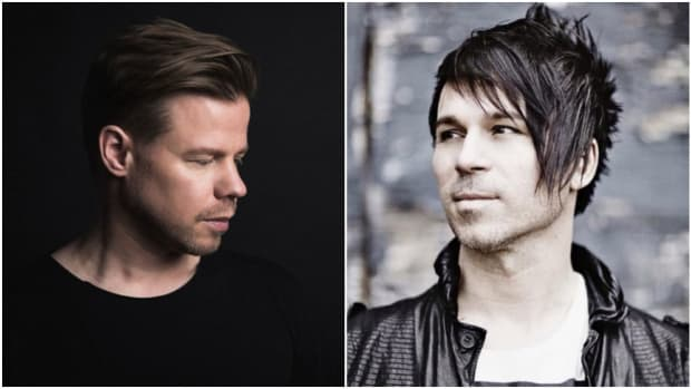 A split-screen image of DJ/producers Ferry Corsten and BT.