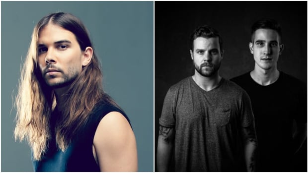 A split-screen photo of Seven Lions and Dimibo, who will unveil their Abraxis psytrance project at Dreamstate SoCal 2019.