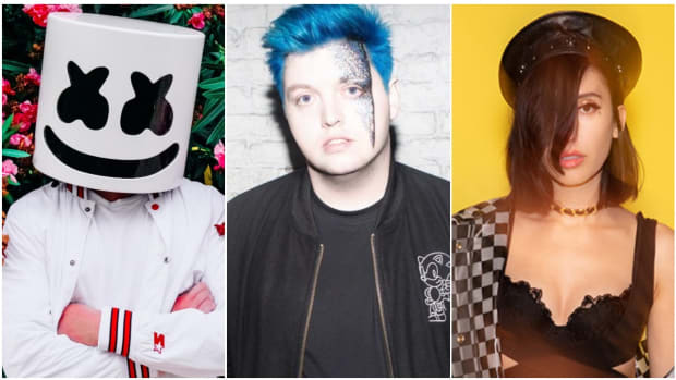 A split-screen photo of Marshmello, Flux Pavilion and Elohim.
