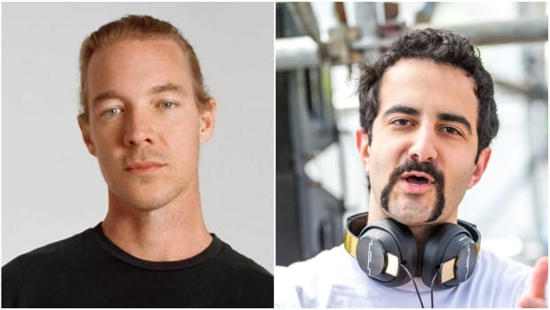 A split-screen photo of DJ/producers Diplo (real name Thomas Wesley Pentz Jr.) and Valentino Khan.