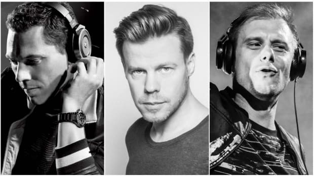 A split-screen image of Tiësto, Armin van Buuren and Ferry Corsten.