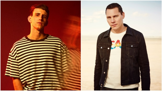 A split screen photo of Illenium (real name Nicholas D. Miller) and Tiësto (real name Tijs Verwest).