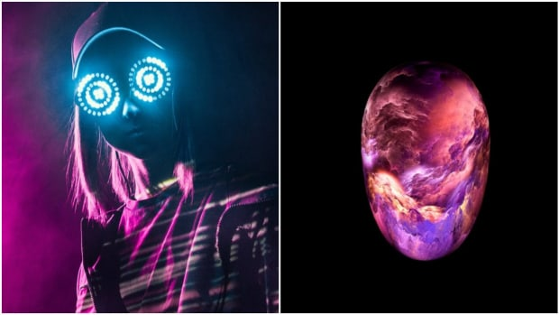 Canadian DJ/producer Rezz and artwork for the anonymous Deathpact project in a side-by-side or split-screen image.