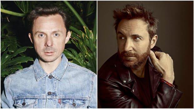 A split-screen photo of French EDM DJ/producers David Guetta and Martin Solveig.