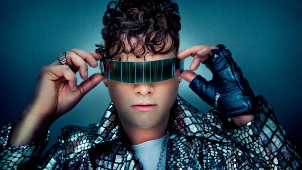 Velvet Code Wearing Tron Glasses - Press Photo