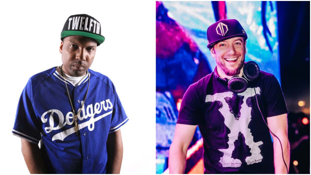 A split-screen image of DJ/producers 12th Planet (real name John Dadzie) and Excision (real name Jeff Abel) from left to right.