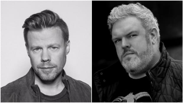 A split-screen photo of DJ/producer Ferry Corsten and Kristian Nairn, who is also an EDM artist in addition to playing Hodor in Game of Thrones.