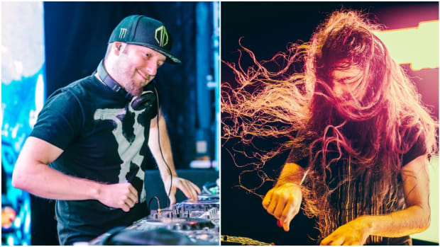 A split-screen photo of DJ/producers Excision (real name Jeff Abel) and Bassnectar (real name Lorin Ashton) during performances.