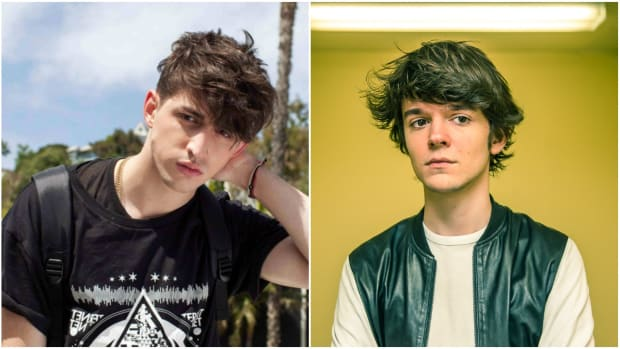 A split-screen or side-by-side image of DJ/producers Porter Robinson and Madeon (real name Hugo Pierre Leclercq).