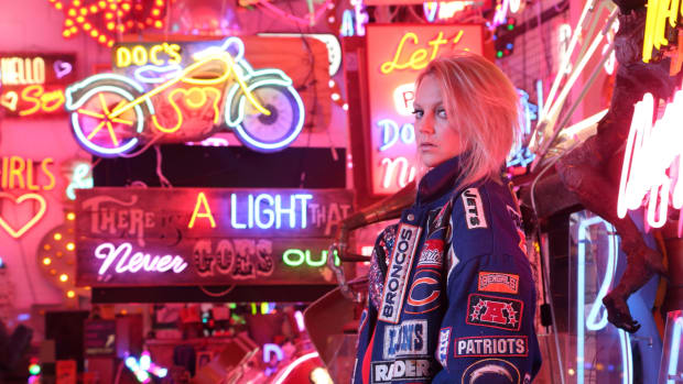 Tiggi Hawke - Neon Signs, Colored Lights & Sports Jacket Press photo