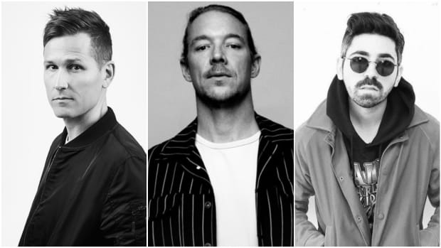 A split-screen or side-by-side black and white photo of DJ/producers Kaskade, Diplo and Felix Cartal.