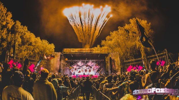dancefestopia stage with fireworks