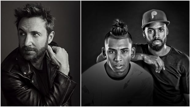 A black-and-white split-screen image of David Guetta and GLOWINTHEDARK.