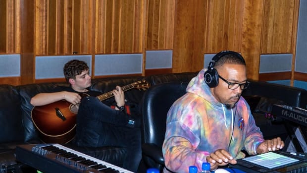 Martin Garrix and Timbaland in the studio.