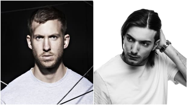 A split-screen or side-by-side photo of Calvin Harris and Alesso (real name Alessandro Lindblad).