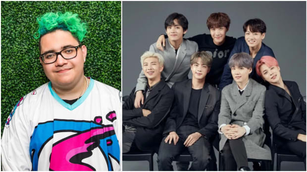 A side-by-side photo of Slushii (real name Julian Scanlan) and South Korean K-pop boy band BTS.