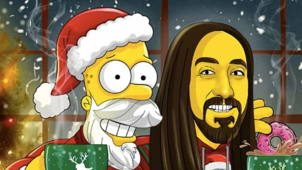 Steve Aoki and Santa Claus drawn in The Simpsons style.