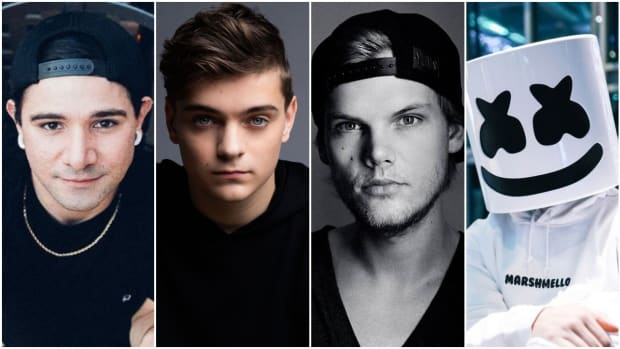 Left to right: Skrillex, Martin Garrix, Avicii and Marshmello.