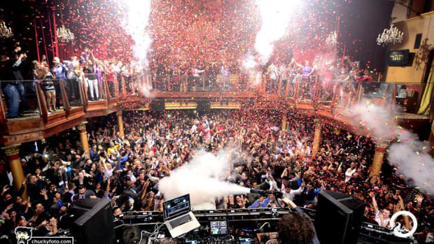 Opera Nightclub in Atlanta crowd shot with CO2 cannons and confetti by Mina Farman.