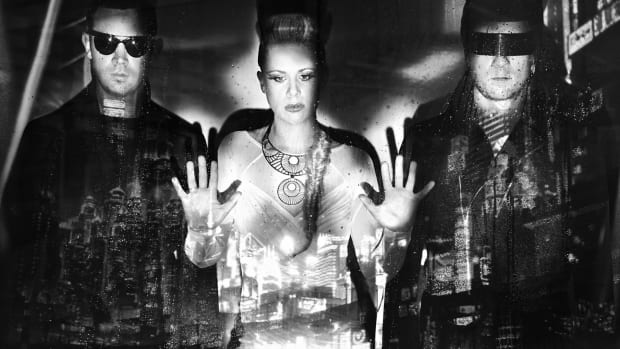 British live electronic trio NERO in a black-and-white press photo.