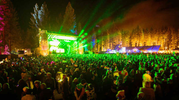 A shot of the crowd in front of the main stage at SnowGlobe Music Festival.