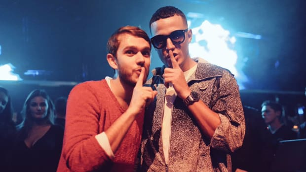 "DJ snake and Zedd making the ""shhh"" hand motion courtesy of D Mahoney Photo."