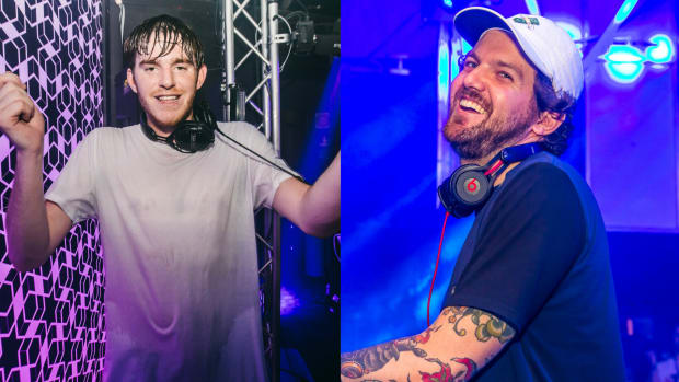 A split screen photo of EDM DJ/producers NGHTMRE and Dillon Francis.