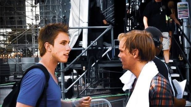 A photo of Nicky Romero and Avicii backstage at a show.