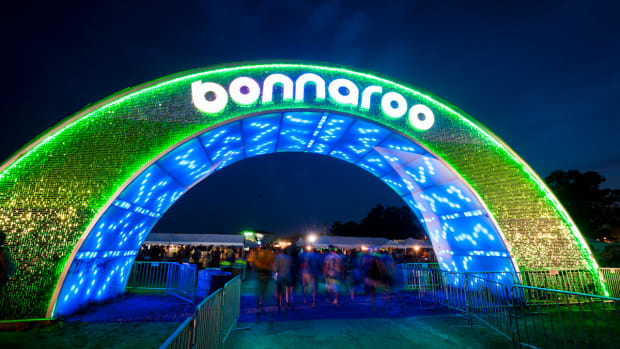 An LED-covered archway leading into Bonnaroo Music & Arts Festival.