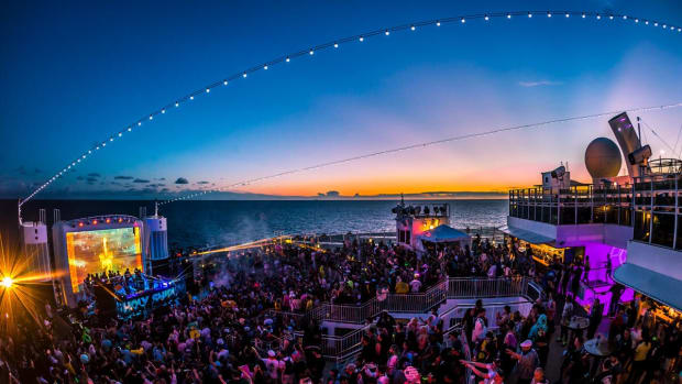 An overhead sunset photo taken at cruise ship festival Holy Ship!