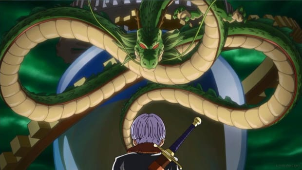 Image of Dragon Ball Z characters Trunks and Shenron.