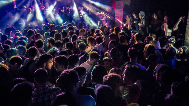 A crowd shot from Farrington nightclub Fabric London.